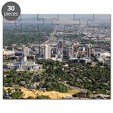 Aerial view of downtown Salt Lake City, Uta Puzzle