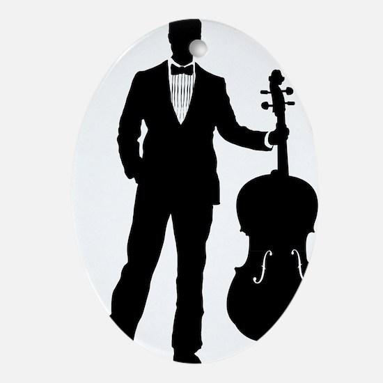 Cello-Player-09-a Oval Ornament