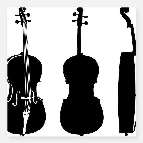 """Cello-08-a Square Car Magnet 3"""" x 3"""""""