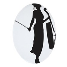 Cello-Player-05-a Oval Ornament