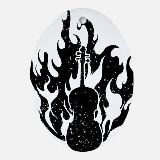 Flaming-Cello-01-a Oval Ornament
