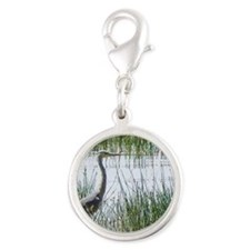 grey heron kenya collection Silver Round Charm
