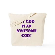 Awesome God Bold Purple Tote Bag