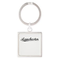 Manchester, Vintage Square Keychain