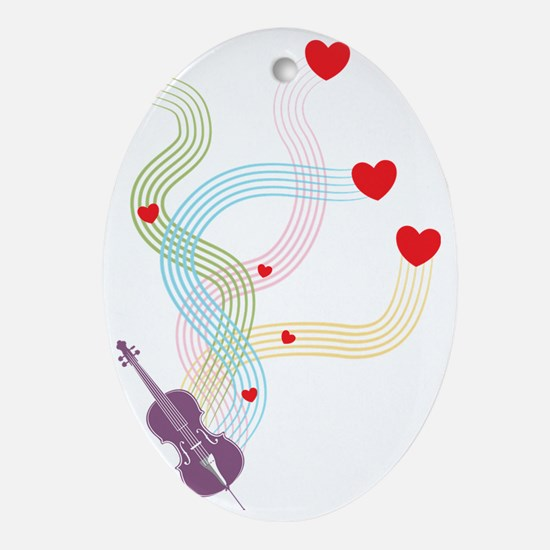Lovely-Cello Oval Ornament