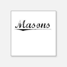 "Masons, Vintage Square Sticker 3"" x 3"""