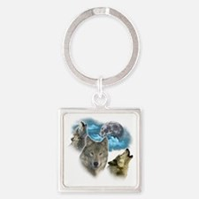 Wolves Moon Square Keychain