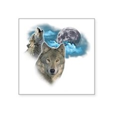 "Wolves Moon 2 Square Sticker 3"" x 3"""