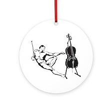 Cello-Player-x-01-a Round Ornament