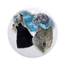 Wolves Moon 3 Round Ornament