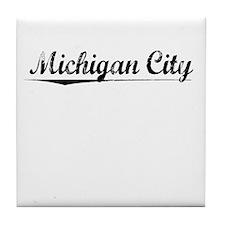 Michigan City, Vintage Tile Coaster