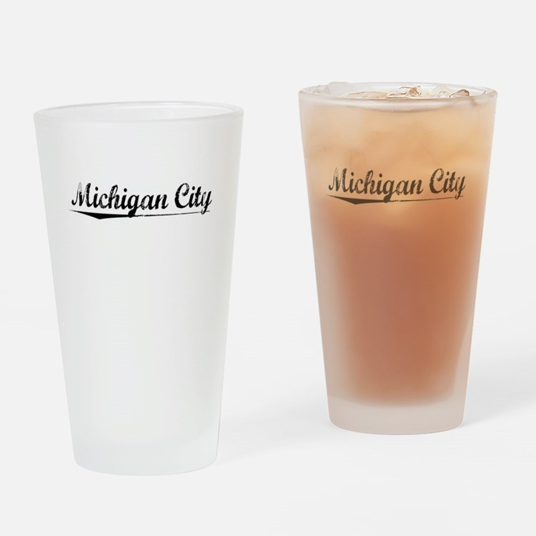 Michigan City, Vintage Drinking Glass