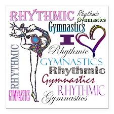 """I Heart Rhythmic Gymnast Square Car Magnet 3"""" x 3"""""""