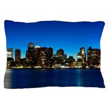 Boston skyline with moon. Pillow Case