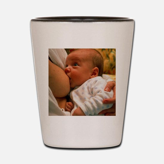 Mother breast-feeding her 3 month old b Shot Glass