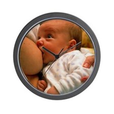 Mother breast-feeding her 3 month old b Wall Clock