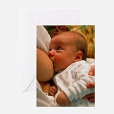 Mother breast-feeding her 3 month ol Greeting Card