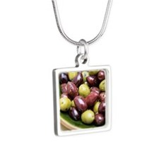 Mixed olives Silver Square Necklace