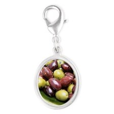 Mixed olives Silver Oval Charm