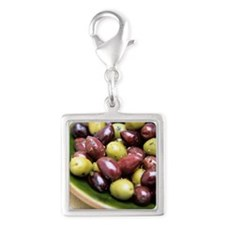 Mixed olives Silver Square Charm