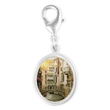 Buildings and bridge on urban c Silver Oval Charm