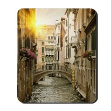 Buildings and bridge on urban canal, Ven Mousepad