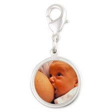 Mother breast-feeding her 3 mo Silver Round Charm