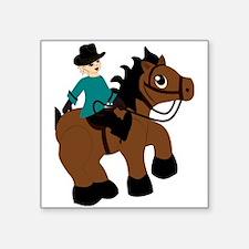 "Horseback Riding Square Sticker 3"" x 3"""