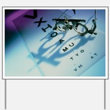 Ophthalmology test frames and eye chart Yard Sign