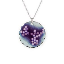 Norovirus particles, TEM Necklace Circle Charm