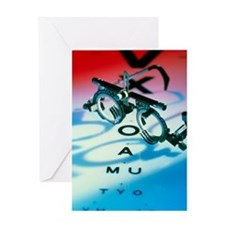 Ophthalmology test frames and eye ch Greeting Card