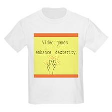 """""""Video games enhance dexterity"""" Kids T-Shirt"""