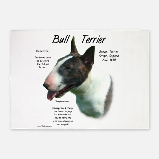 Bull Terrier (colored) 5'x7'Area Rug
