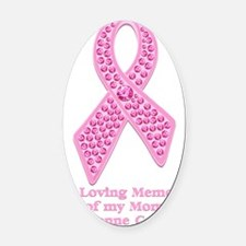 Breast Cancer Gem Ribbon Oval Car Magnet