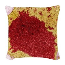Papilloma virus particles, TEM Woven Throw Pillow