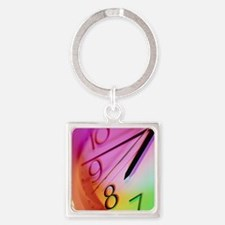 Part of a clock face of a wall-clo Square Keychain