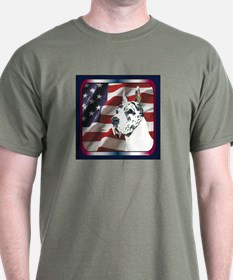 Harlequin Great Dane USA Flag Dark Colored T-Shirt