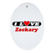 I Love Zackary Oval Ornament