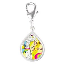 Stay Strong Silver Teardrop Charm