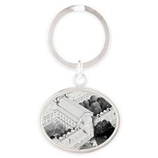 Large building , with courtyards Oval Keychain