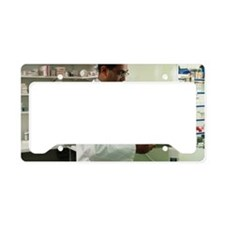 Pharmacist counting out table License Plate Holder