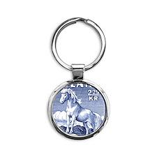 Iceland 1958 Icelandic Horse Postag Round Keychain