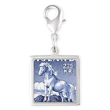Iceland 1958 Icelandic Horse  Silver Square Charm