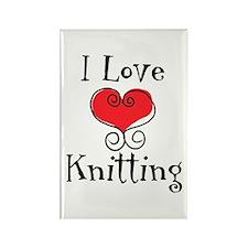 I Love (heart) Knitting Rectangle Magnet