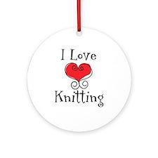 I Love (heart) Knitting Ornament (Round)