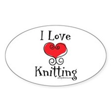 I Love (heart) Knitting Oval Decal