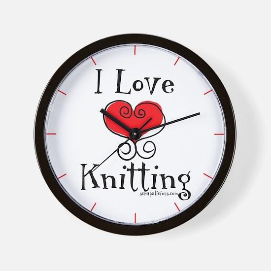 I Love (heart) Knitting Wall Clock