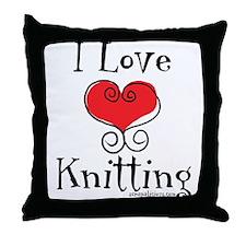 I Love (heart) Knitting Throw Pillow
