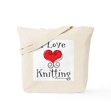 I Love (heart) Knitting Tote Bag