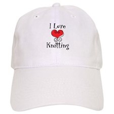 I Love (heart) Knitting Baseball Cap